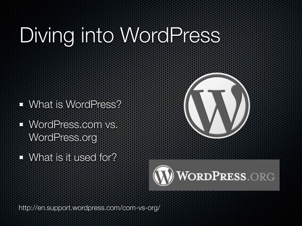 Diving into WordPress What is WordPress? WordPr...