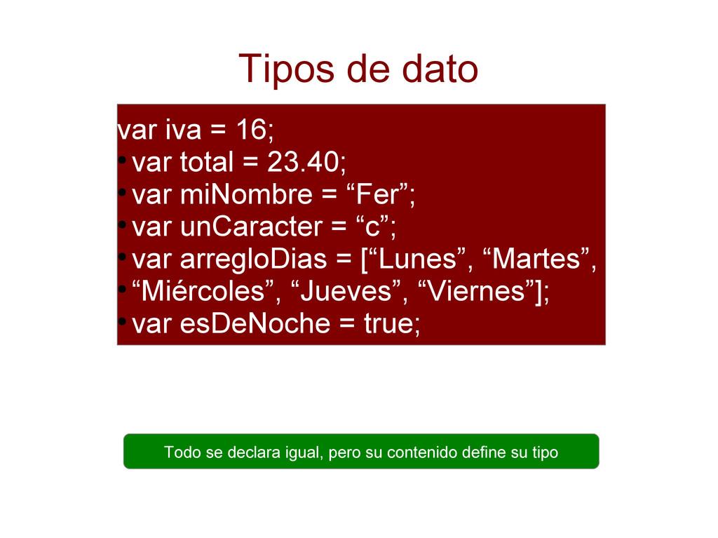 Tipos de dato var iva = 16; ● var total = 23.40...