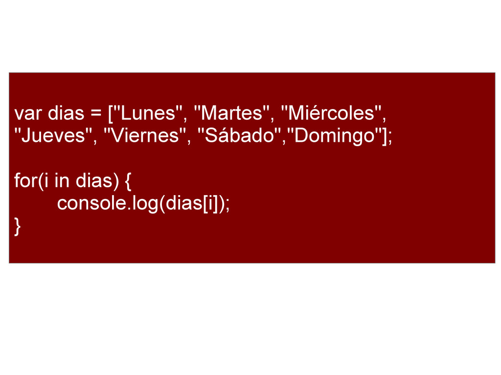 """var dias = [""""Lunes"""", """"Martes"""", """"Miércoles"""", """"Ju..."""