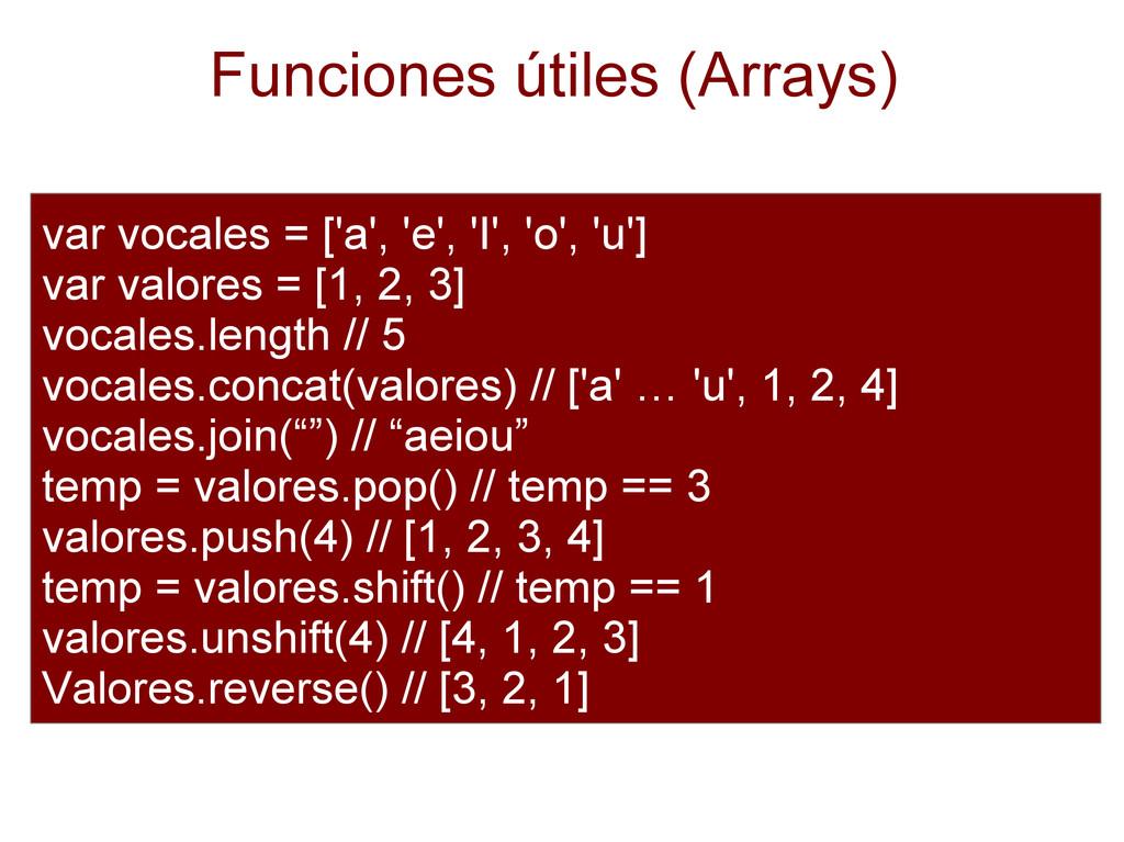 Funciones útiles (Arrays) var vocales = ['a', '...