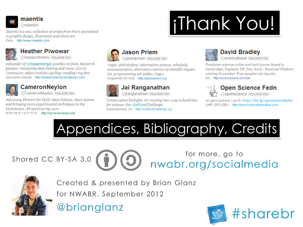¡Thank You! Appendices, Bibliography, Credits