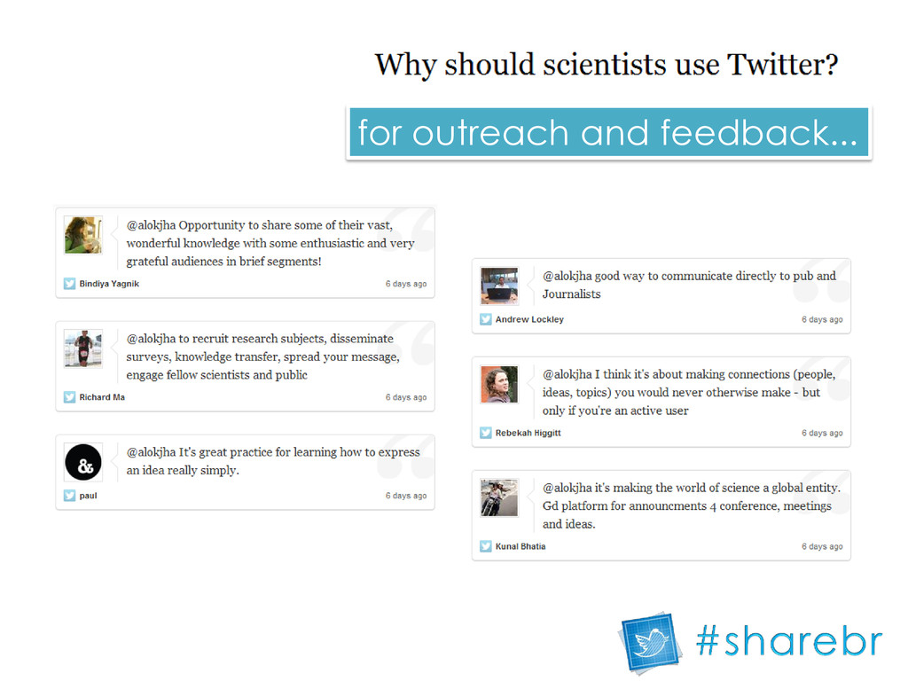for outreach and feedback...