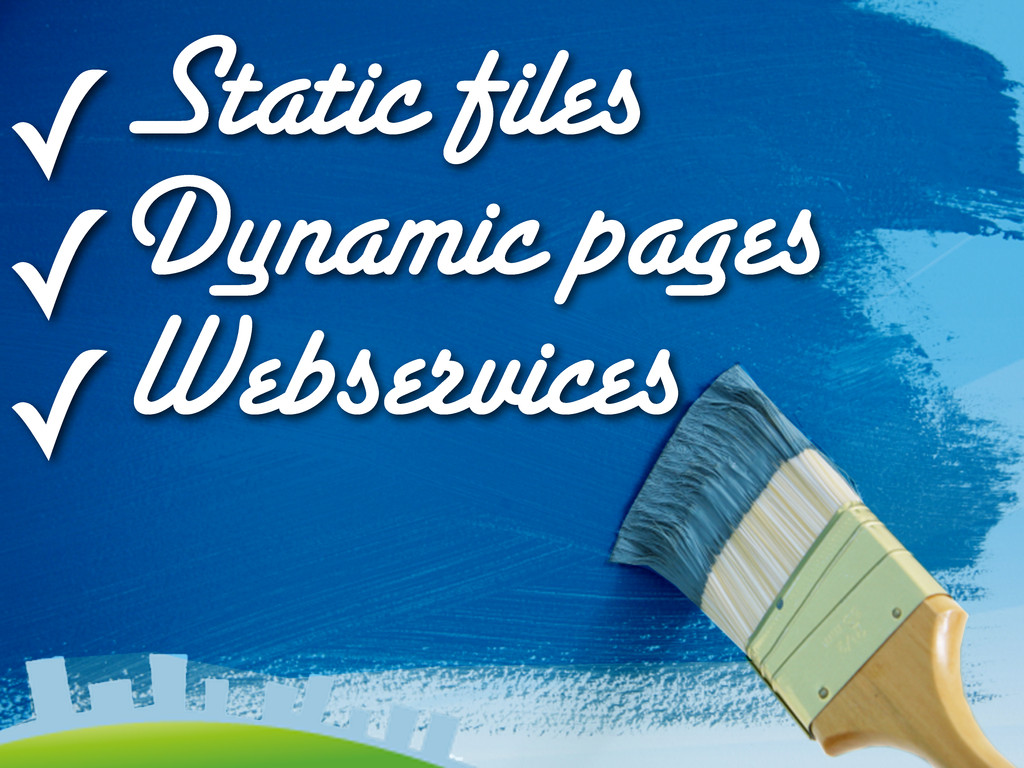 ✓Static files ✓Dynamic pages ✓Webservices