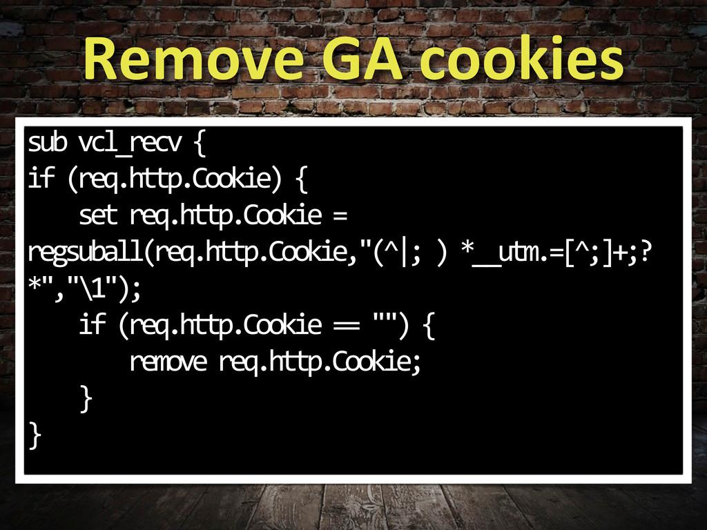 Remove GA cookies sub vcl_recv { if...