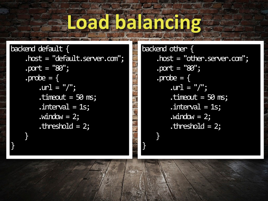 Load balancing backend default {  ...