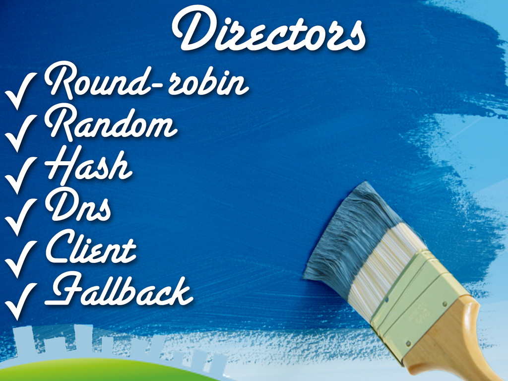 Directors ✓Round-robin ✓Random ✓Hash ✓Dns ✓Clie...