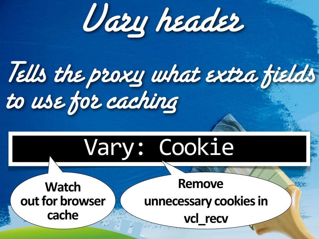 Vary header Vary: Cookie Tells the proxy wha...