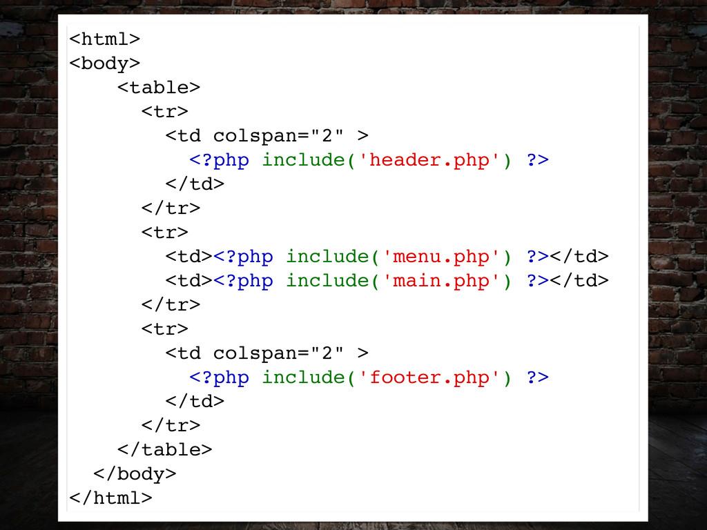 "<html> <body> <table> <tr> <td colspan=""2"" > <?..."