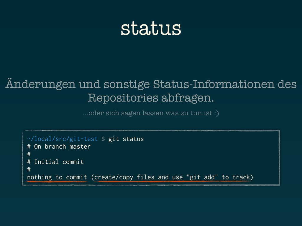 status ~/local/src/git-test $ git status # On b...