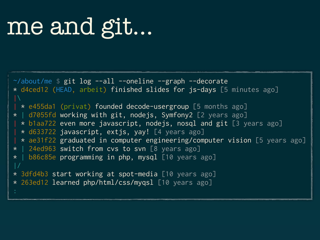 me and git… ~/about/me $ git log --all --onelin...