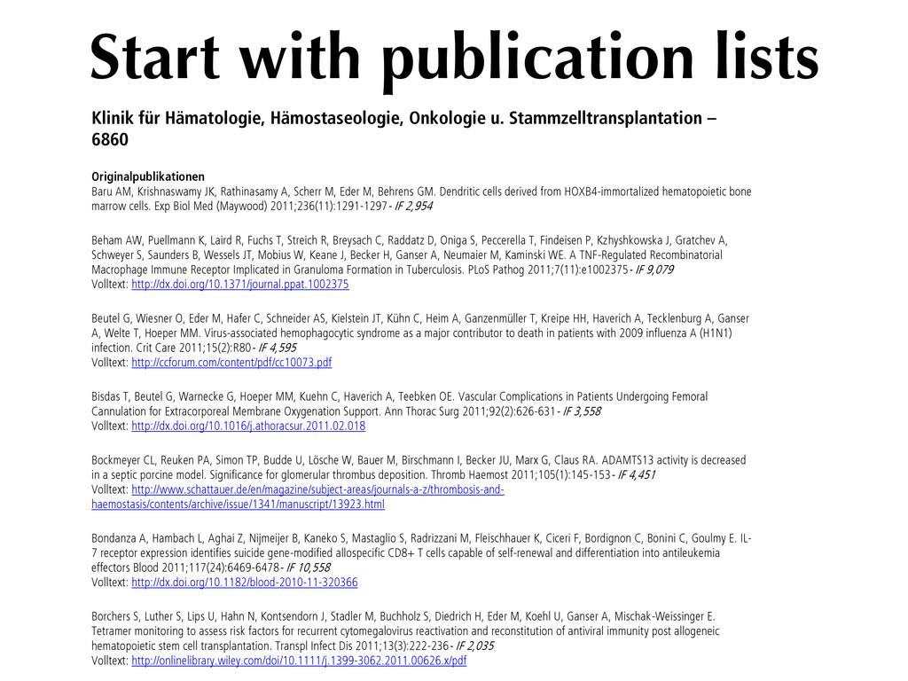 Start with publication lists Klinik für Hämatol...