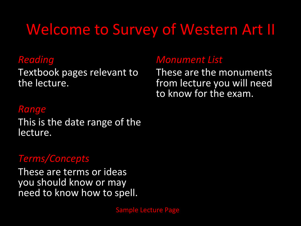 Welcome to Survey of Western Art...