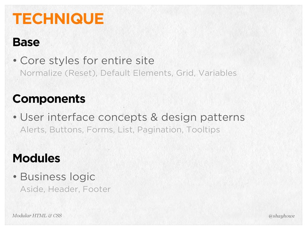 @shayhowe Modular HTML & CSS TECHNIQUE Base • C...