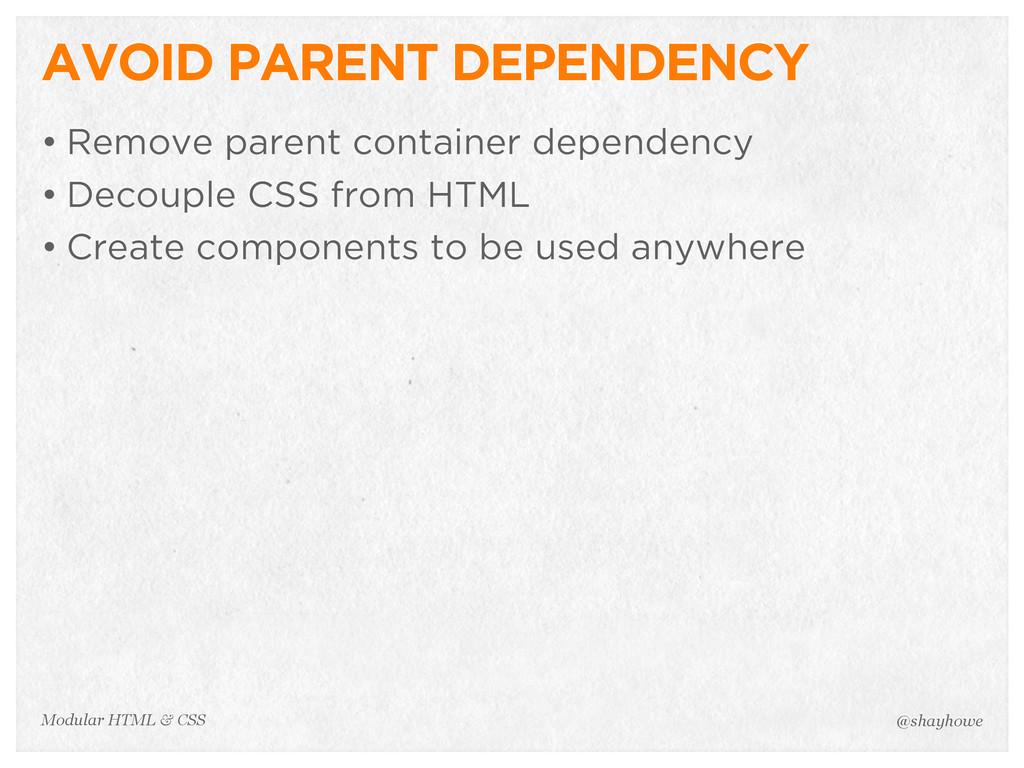 @shayhowe Modular HTML & CSS AVOID PARENT DEPEN...