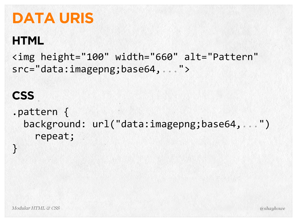 @shayhowe Modular HTML & CSS DATA URIS HTML <im...
