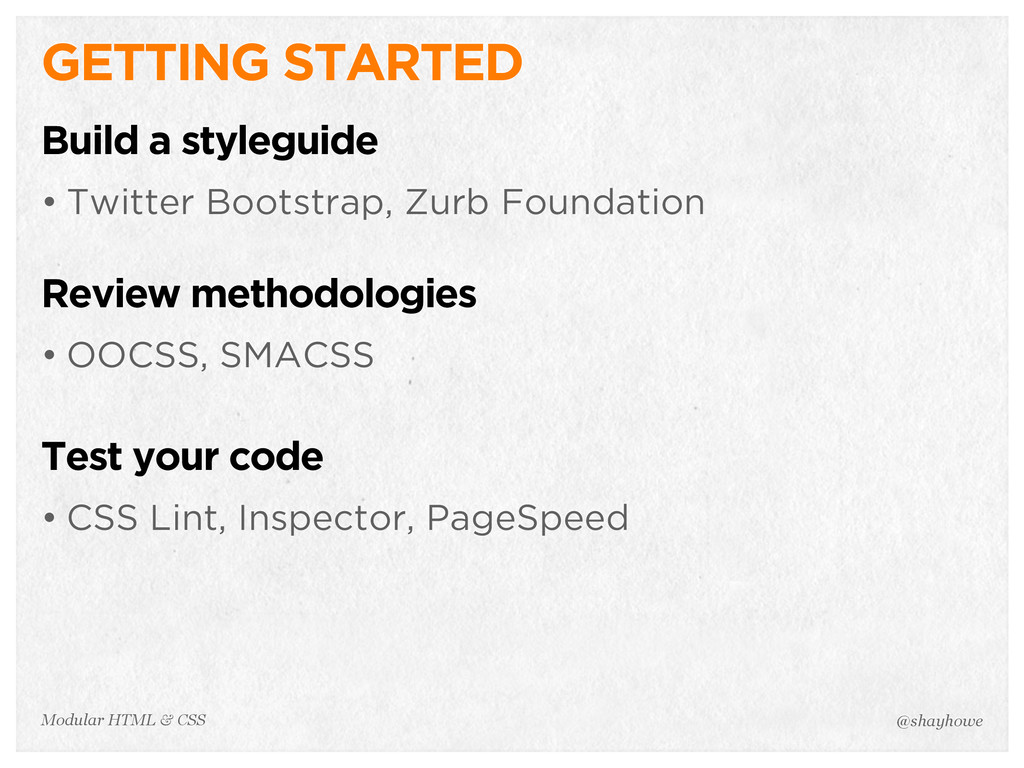 @shayhowe Modular HTML & CSS GETTING STARTED Bu...