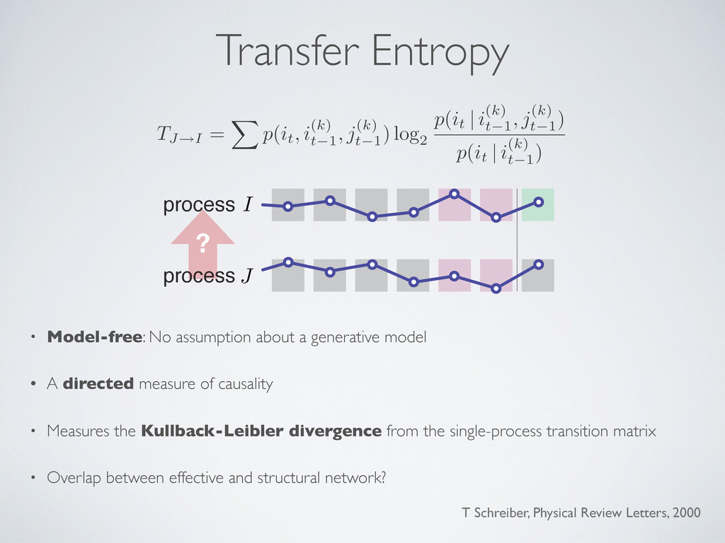 Transfer Entropy • Model-free: No assumption ab...