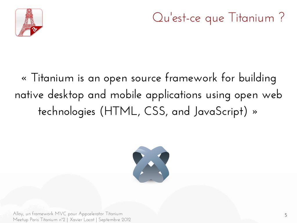 5 Alloy, un framework MVC pour Appcelerator Tit...