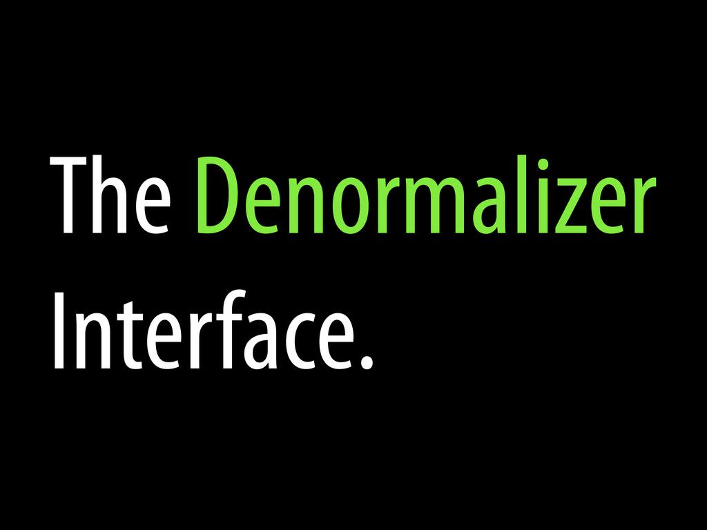 The Denormalizer Interface.