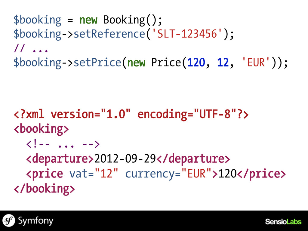 $booking = new Booking(); $booking->setReferenc...