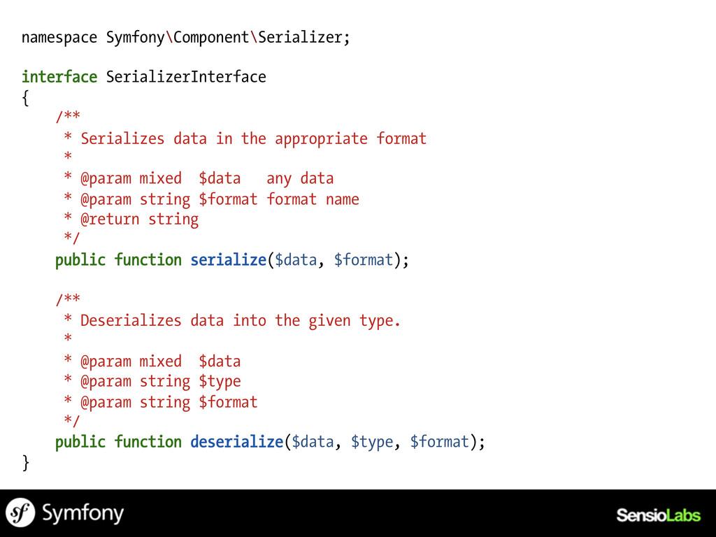 namespace Symfony\Component\Serializer; interfa...