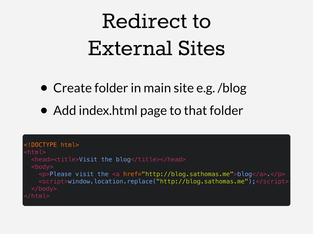 Redirect to External Sites • Create folder in m...