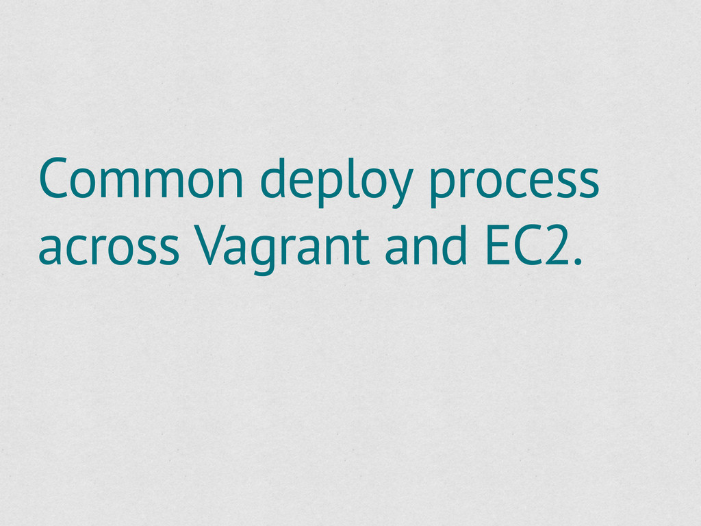 Common deploy process across Vagrant and EC2.