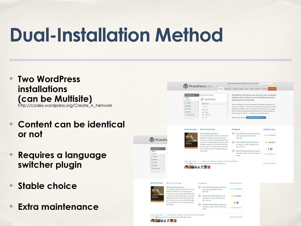 Dual-Installation Method ✤ Two WordPress instal...