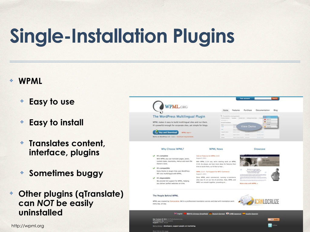 Single-Installation Plugins ✤ WPML ✤ Easy to us...