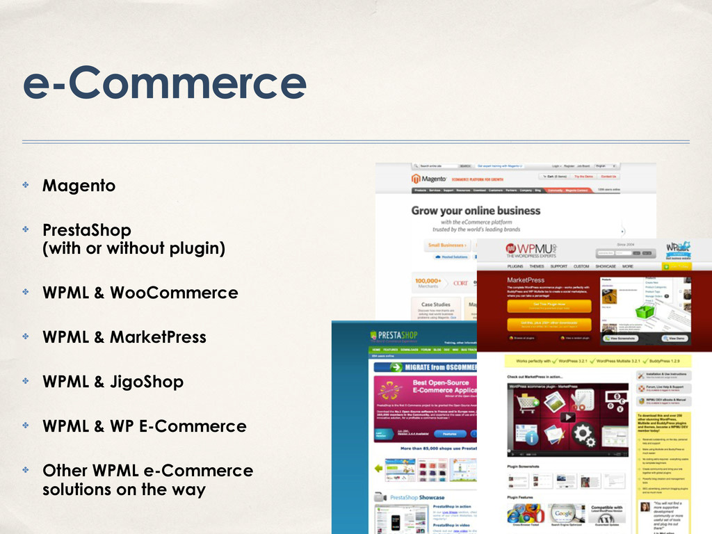 e-Commerce ✤ Magento ✤ PrestaShop (with or with...