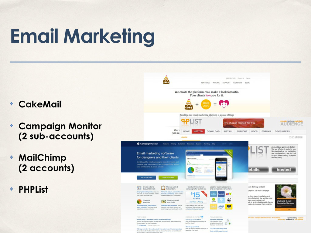 Email Marketing ✤ CakeMail ✤ Campaign Monitor (...