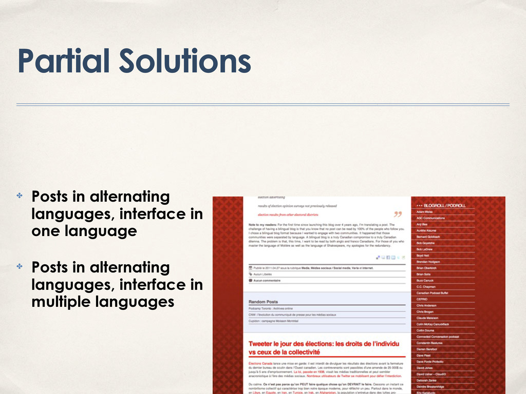 Partial Solutions ✤ Posts in alternating langua...