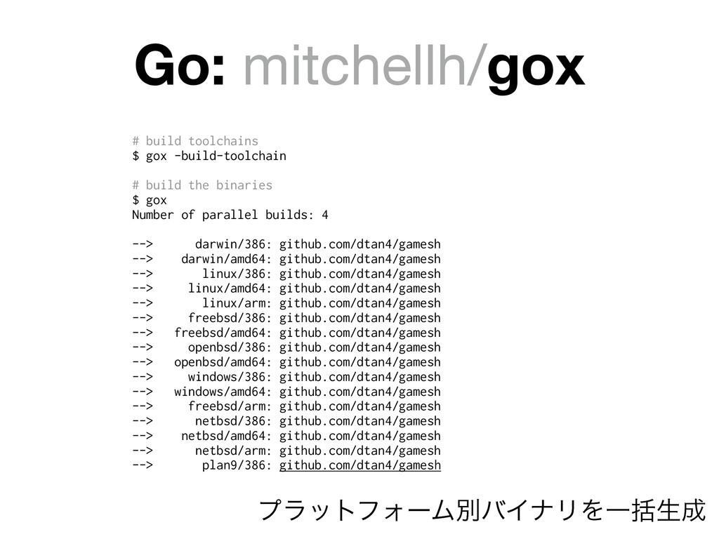 Go: mitchellh/gox # build toolchains $ gox -bui...