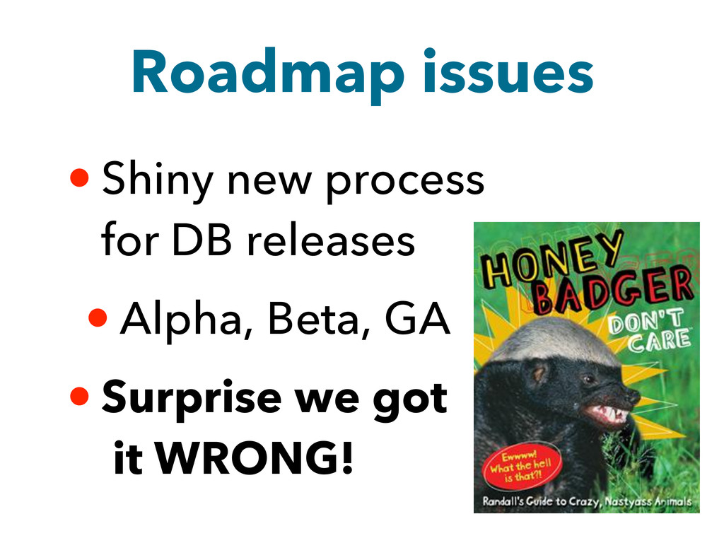 Roadmap issues • Shiny new process for DB relea...