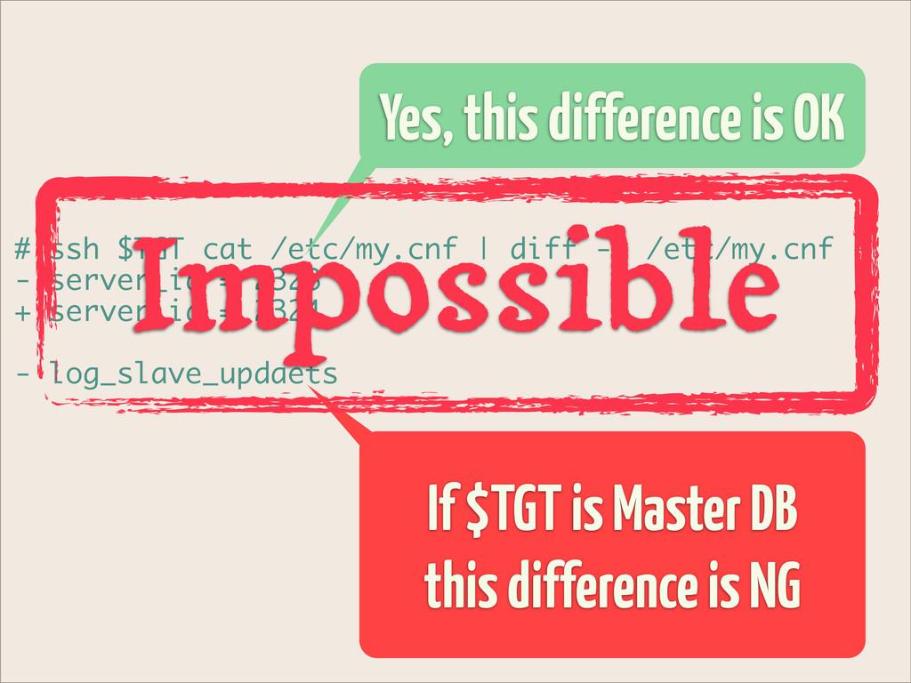 # ssh $TGT cat /etc/my.cnf | diff -u /etc/my.cn...