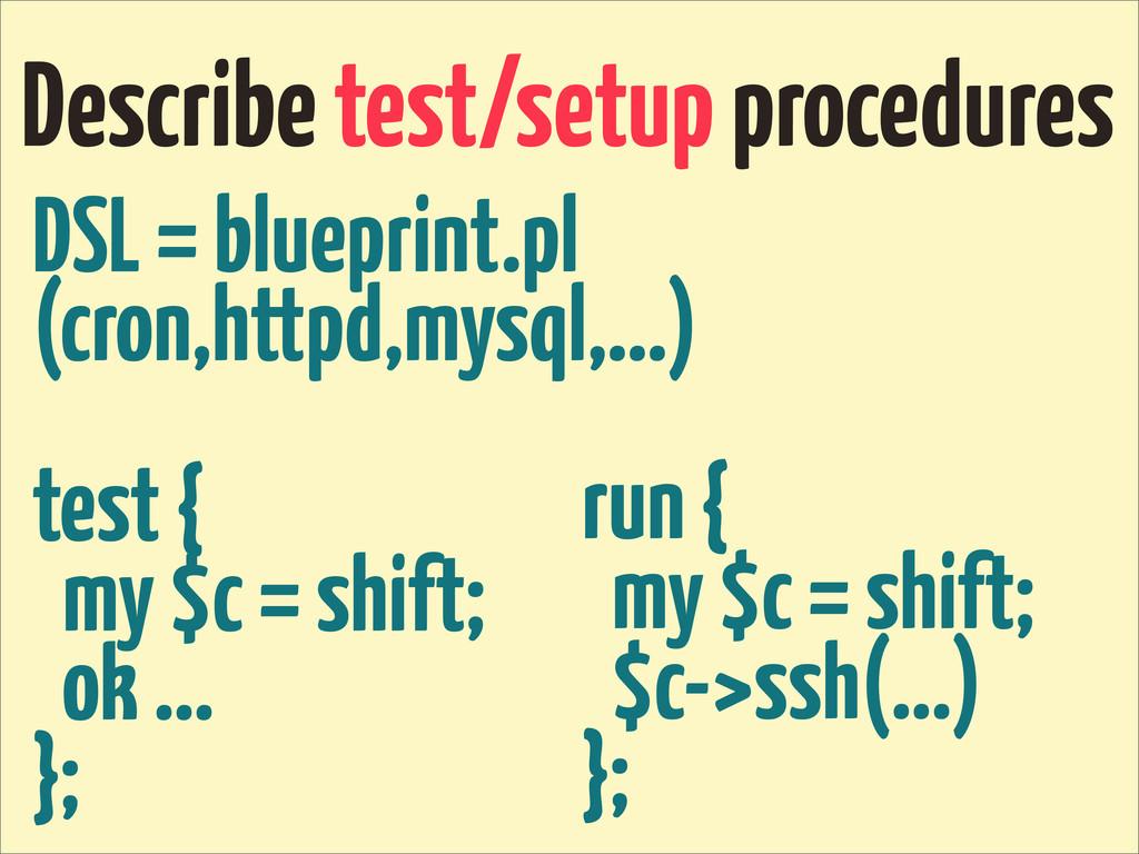 Describe test/setup procedures DSL = blueprint....