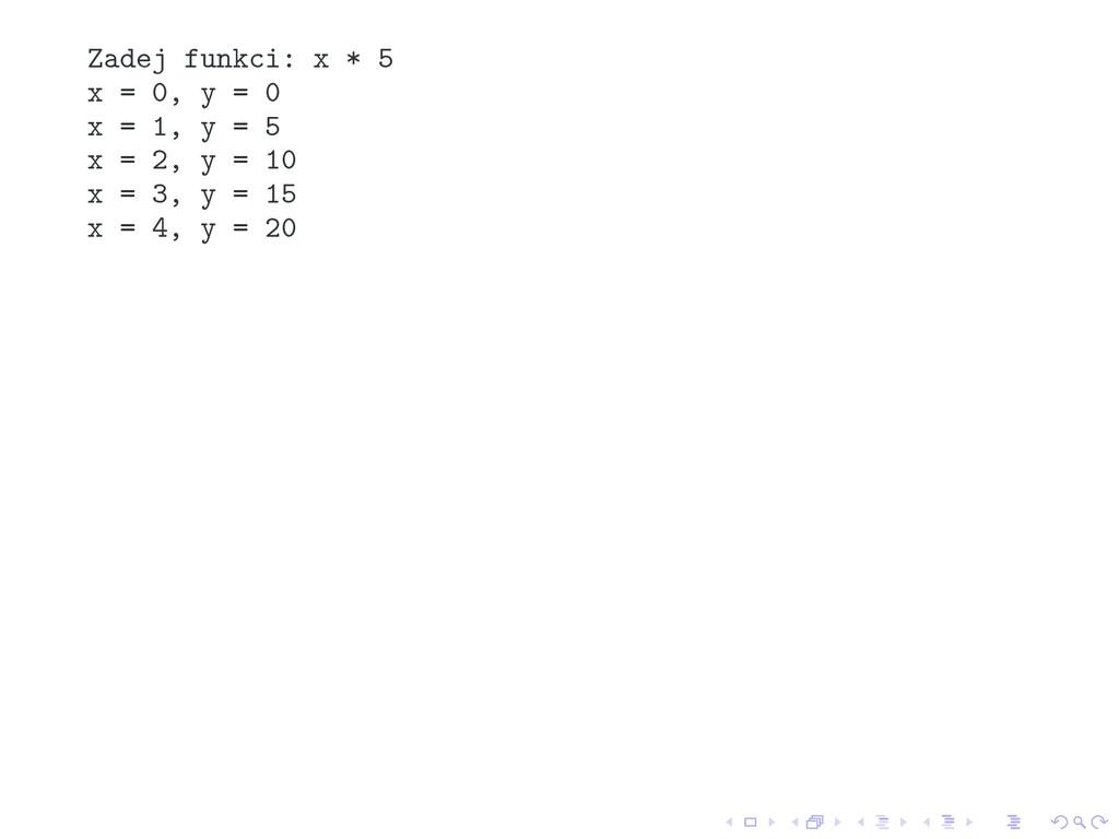 Zadej funkci: x * 5 x = 0, y = 0 x = 1, y = 5 x...