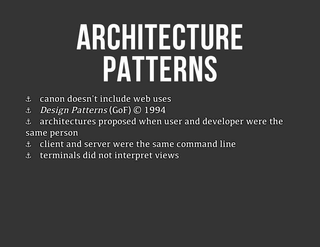 ARCHITECTURE PATTERNS ⚓ ⚓ ⚓ ⚓ ⚓ ⚓ ⚓ ⚓ canon doe...