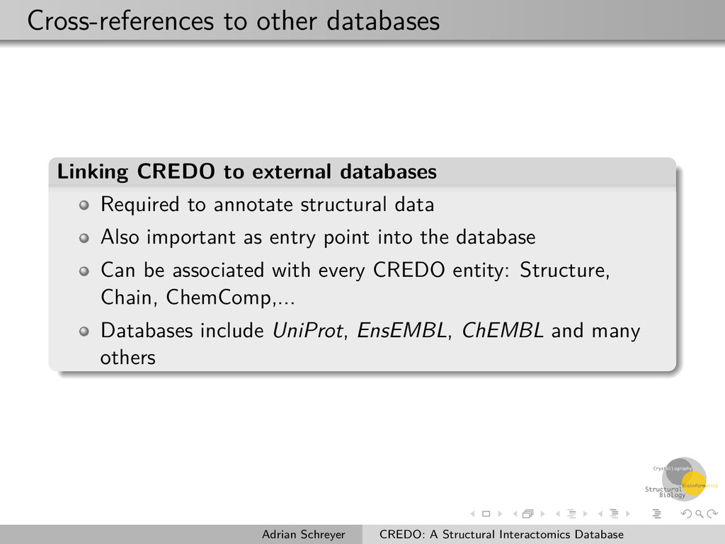 Cross-references to other databases Linking CRE...