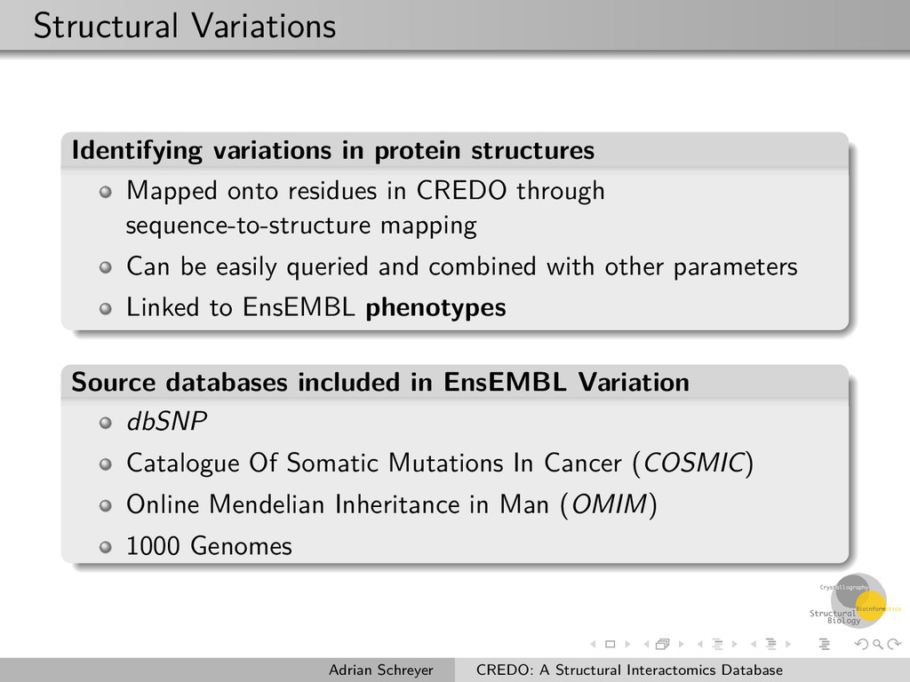 Structural Variations Identifying variations in...