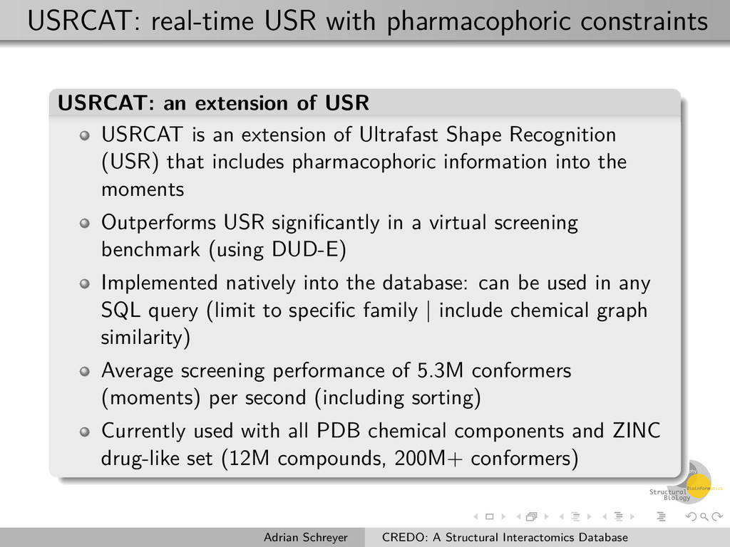 USRCAT: real-time USR with pharmacophoric const...