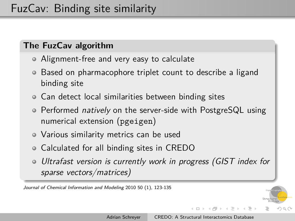 FuzCav: Binding site similarity The FuzCav algo...