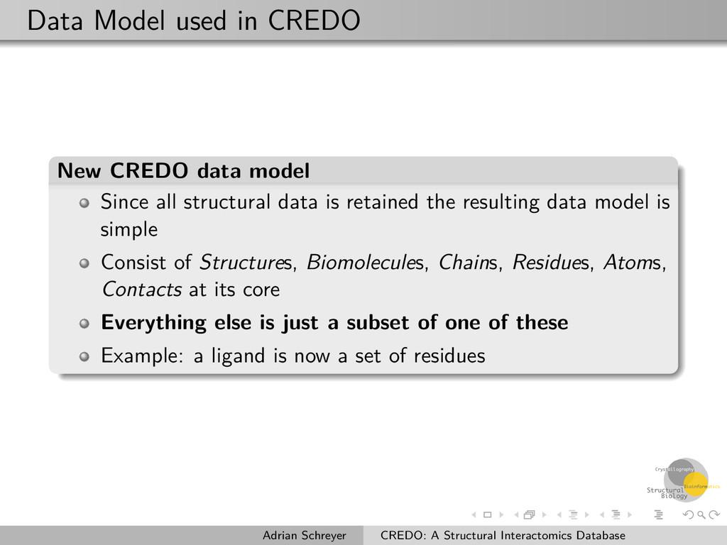 Data Model used in CREDO New CREDO data model S...