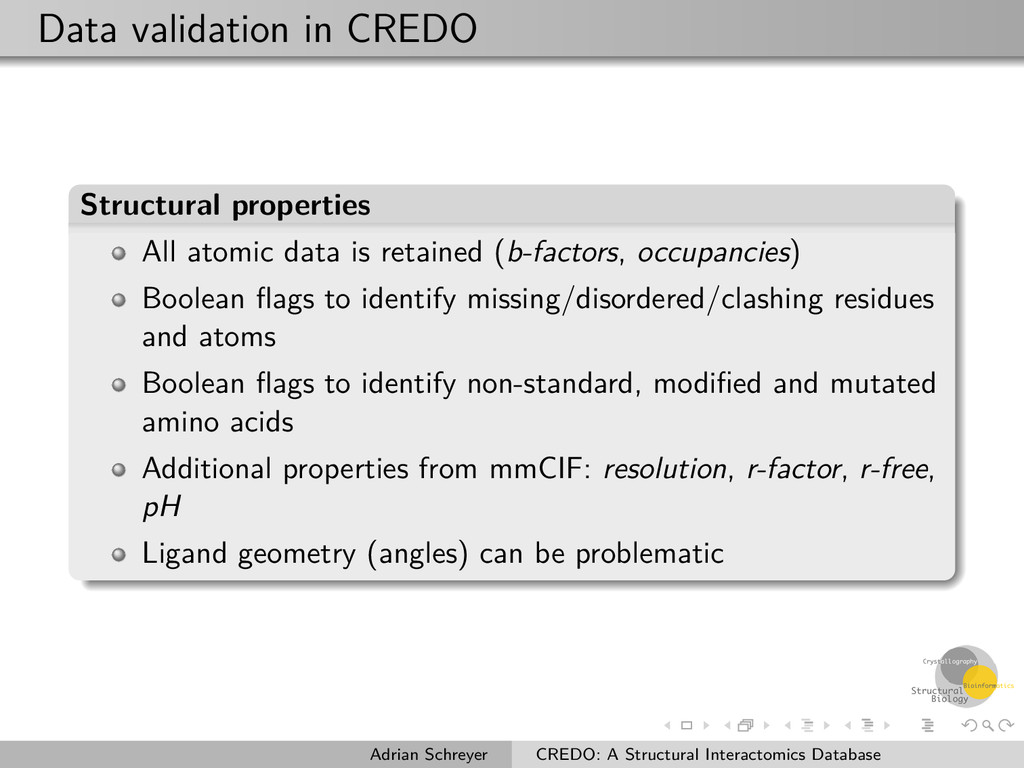 Data validation in CREDO Structural properties ...