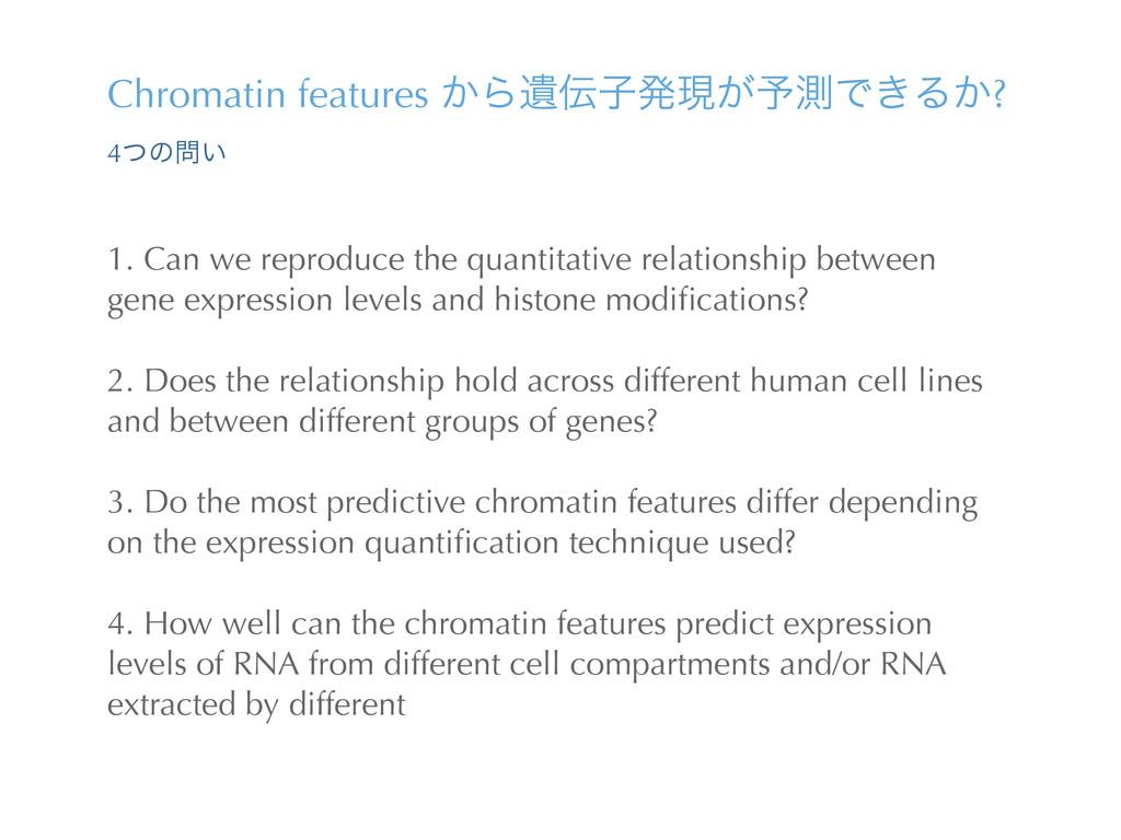 Chromatin features ͔ΒҨࢠൃݱ͕༧ଌͰ͖Δ͔? 4ͭͷ͍ 1. Can...