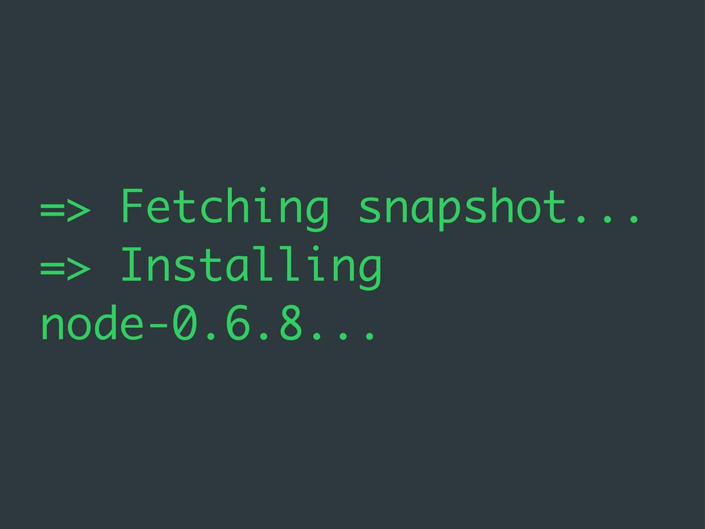 => Fetching snapshot... => Installing node-0.6....