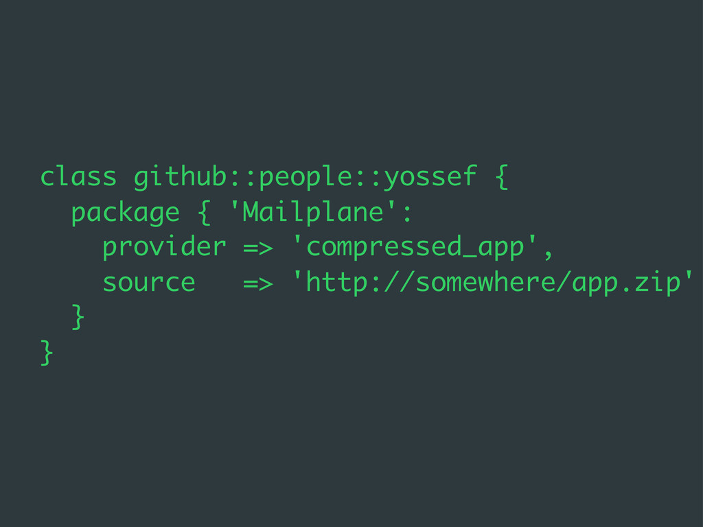 class github::people::yossef { package { 'Mailp...