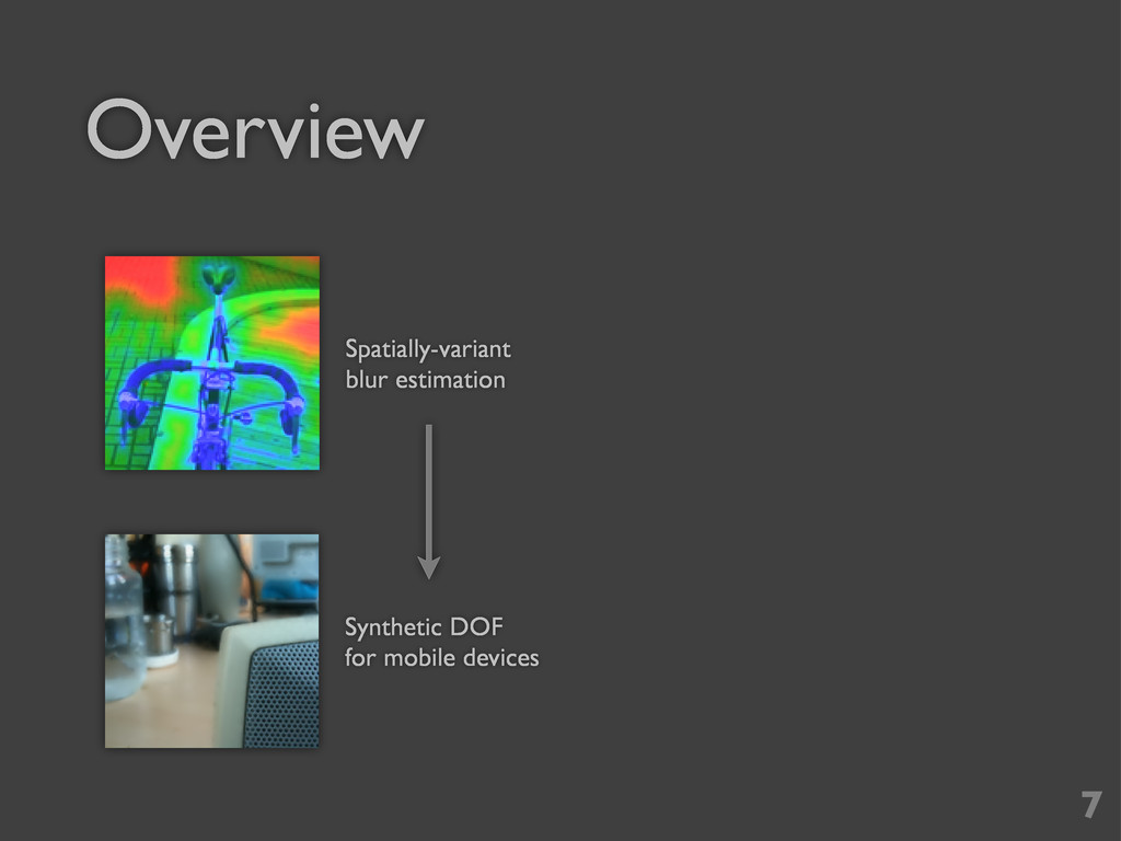 Overview 7 Spatially-variant blur estimation Sy...