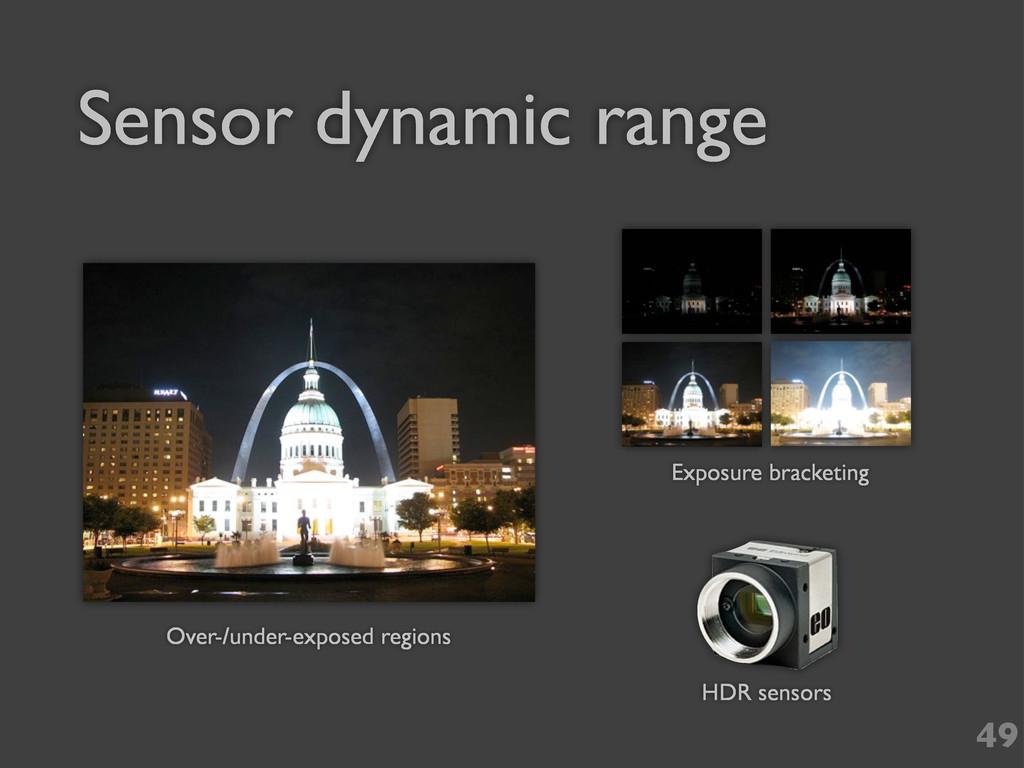 Sensor dynamic range 49 HDR sensors Over-/under...