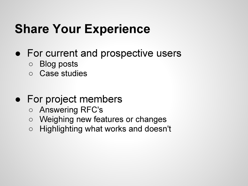 Share Your Experience ● For current and prospec...